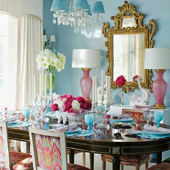 Blue and pink