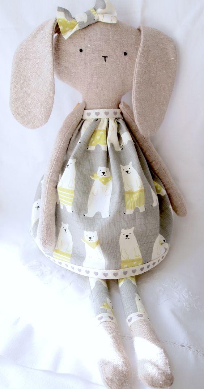 Handmade linen rabbit, handmade bunny doll, handmade rag doll.