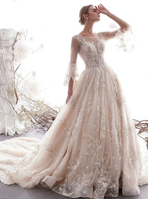 Champagne Ball Gown Tulle Appliques 3 4 Sleeve Wedding Dress With Long Train Wedding Dresses Whimsical Wedding Dress Trends Forest Wedding Dress