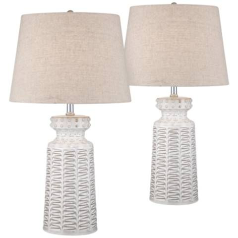 Helene White Glaze Ceramic Table Lamp Set Of 2 57r53 Lamps Plus Cottage Table Farmhouse Table Lamps Table Lamp Sets