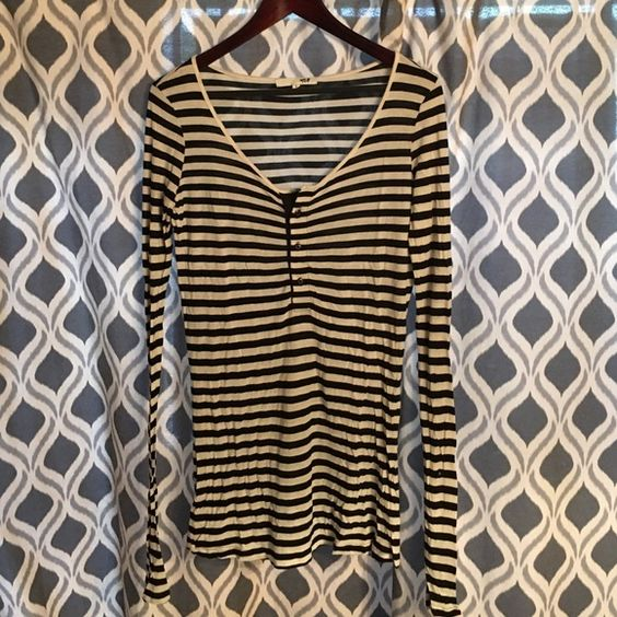 NSF CLOTHING Henley Shirt Dress Black and ivory stripes / from an earlier collection / by nsf clothing / worn, a few snags/tiny holes (hence the $25 price tag for designer) but otherwise wearable, barely noticeable on front bottom right of dress and back almost to bottom seam. Captures the current NSF look perfectly. Size small. Can fit up to a size large - oversized fit Nsf  Dresses