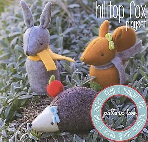 HILLTOP-FOX-PLAYSET-Sewing-Craft-PATTERN-Soft-Toy-Felt-Doll-Bear-Bird