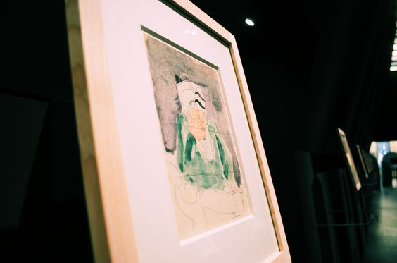 Marc Chagall, Abramo piange Sara, gouaches, primo schizzo preparatorio, 1931 (dettaglio dell'allestimento)