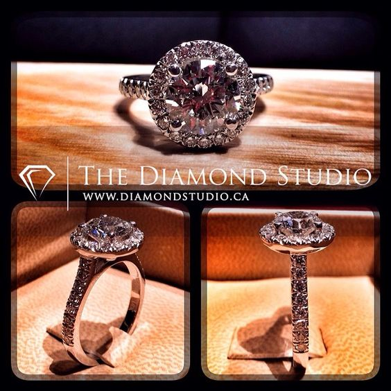 How about this new halo ring. This ring was made for a Canadian athlete participating right now in the Olympics. Not only does she have an amazing shot at winning gold, but she will have a @diamondboi ring put on her finger when she gets back. It was made with a 1.51ct round cut hearts and arrows diamond on a v-cut round halo. The side diamonds are also v-cut. #diamond #diamonds #wedding #weddings #engagementring #ring #rings #halo #bride #brides #jewellery #jewelry #thediamondstudio