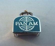 Pan Am Airlines Sterling Enamel Suitcase Charm Mint Condition..