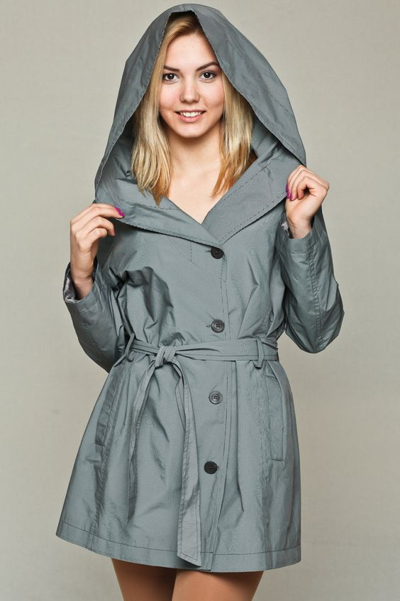 Silver womens raincoat / hooded jacket / silver raincoat / hooded