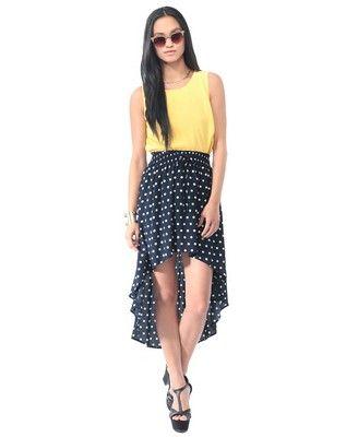 High-Low Polka Dot Skirt