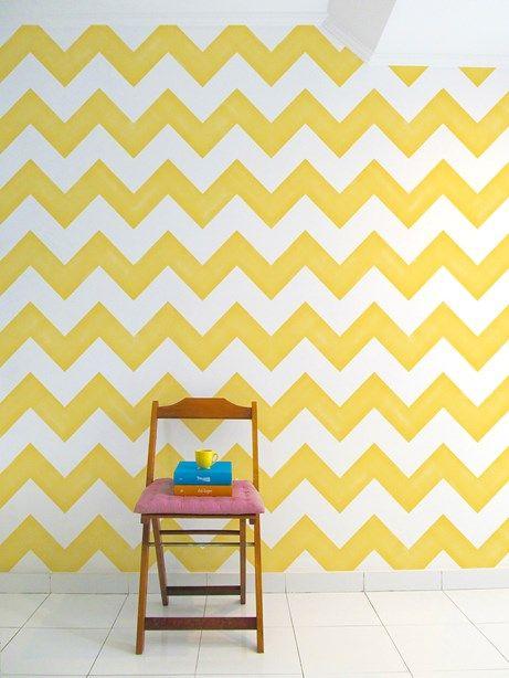 Aparador Adega Bar ~ Papel de Parede Adesivo Zig Zag Amarelo Collector55 Collector55 Walls Pinterest Ps