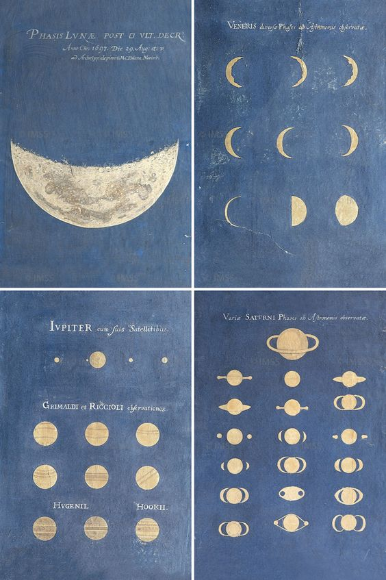 Maria Clara Eimmart (1676-1707). Phase of the Moon, Phases of Venus, Aspect of Jupiter, Aspect of Saturn, late 17th century