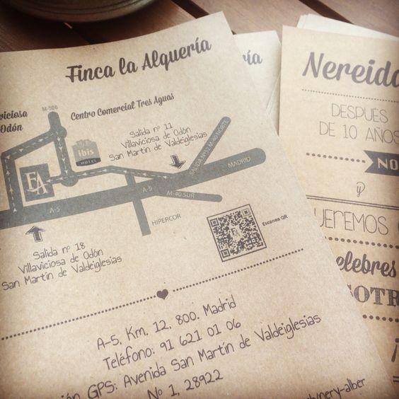 Invitaciones de boda con mapa. Los invitados ya no tienen excusa para perderse. www.tienda.eje360.com - www.eje360.con