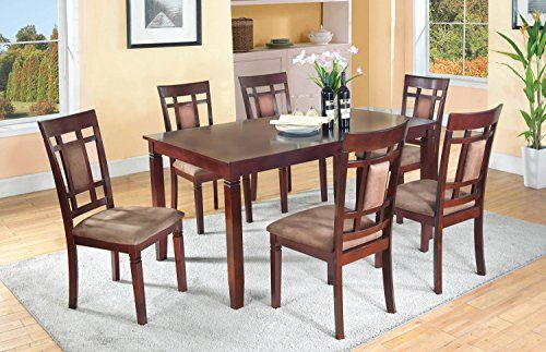 Home Source 50902101 7piece Davis Collection Asian Hardwood Dining Set 30 By 60 By 36inch Dark Cherrycappu Dining Room Sets Patio Furniture Chairs Dining Table