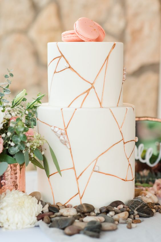 Copper and rose gold wedding cakes   see them all on www.onefabday.com