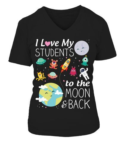 To the Moon and Back Teacher T-Shirt V-Neck