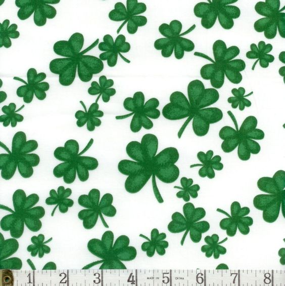 Tossed Clover Green Shamrock St. Patrick Springs Fabric