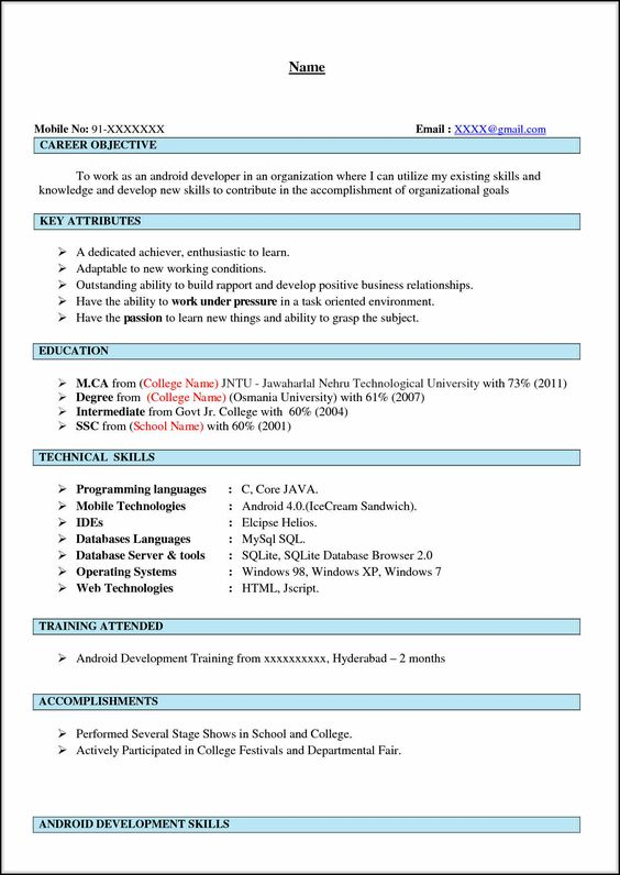 Android Developer Resume Sample IOS Developer Resume \u2013 Naukri