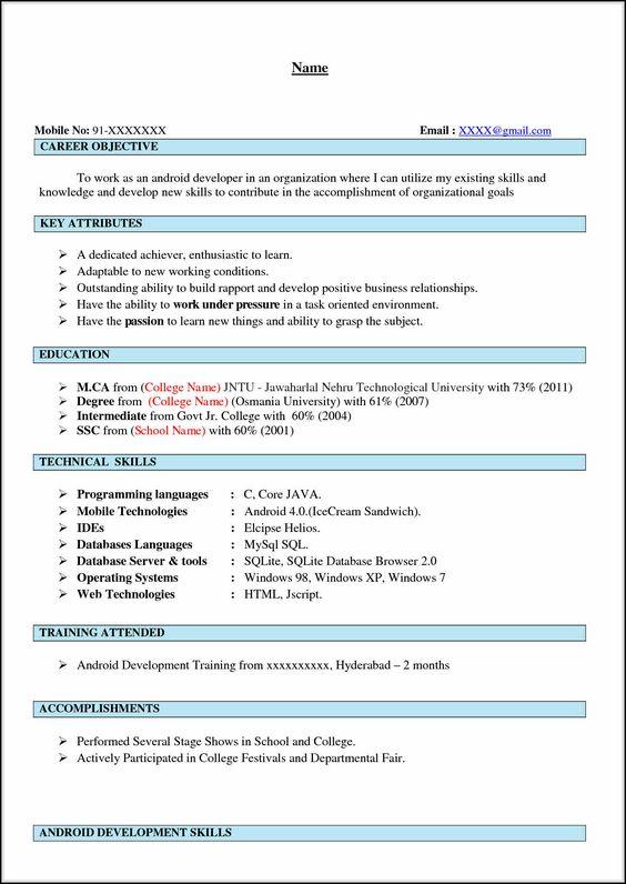 Android Developer Resume Samples Application Developer Resume