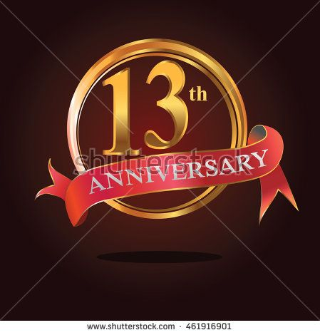 13th anniversary golden ring logo with simple dynamic composition and soft red ribbon