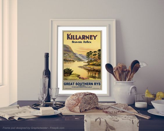 Killarney Ireland Travel Poster Vintage Irish Tourism Advertisement Print Home…