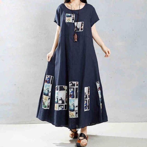 Women cotton linen loose dress
