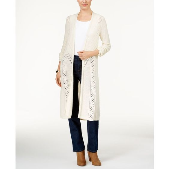 Style & Co. Pointelle-Knit Duster Cardigan, ($46) ❤ liked on Polyvore featuring tops, cardigans, warm ivory, cardigan top, ivory top, long cardigan, long white cardigan and long white top