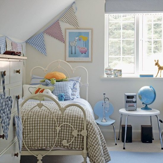 Use a mixture of ginghams to keep the look of a child's bedroom neutral and age appropriate by updating accents.