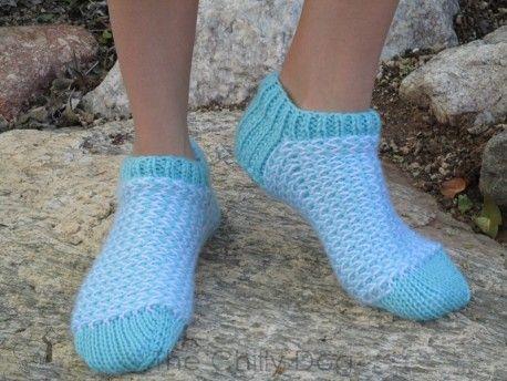 Knitting Pattern: Stripes on the Inside Socks - Stashbuster slipper socks with unconventional color work
