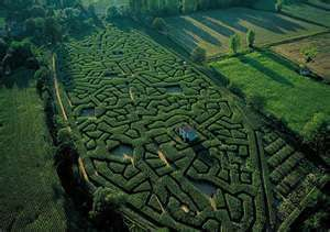 The maze at Cordes-sur-Ciel by Isabelle de Beaufort and Bernard Ramus ...  ~ looks very dense and tight?!