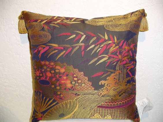 Oriental Scenic Jacquard Pillow with Tassels. $125.00, via Etsy.