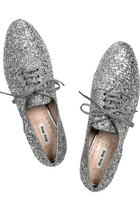 Miu Miu Glitter and Crystal Brogues