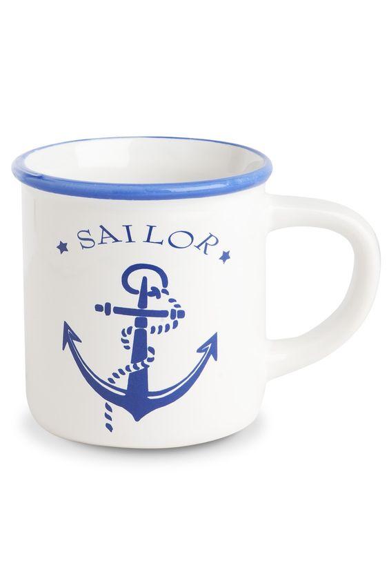 Becher, Anker : Keramikbecher in weiß mit Ankermotiv und dem Schriftzug Sailor.