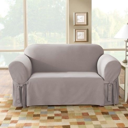 Sailcloth Cotton Duck Loveseat Slipcover Sure Fit Love Seat Loveseat Slipcovers Slipcovers