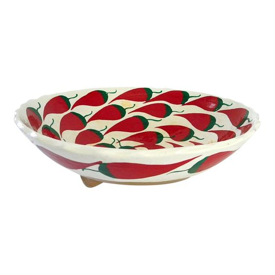 1960s Hand Painted Large Footed Ceramic Chili Peppers Bowl Chili