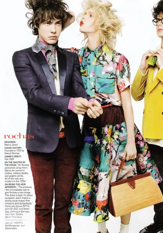 "Mgmt's Andrew VanWyngarden in Vogue. Not sure how to feel about this.. love vouge but he's too clean! He's never that ""pretty"". :("