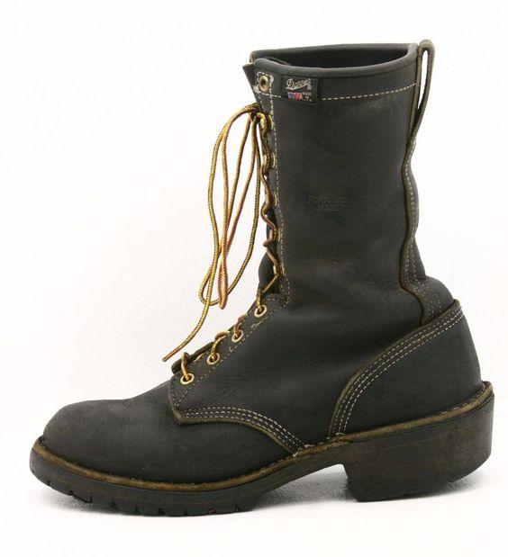 Danner Mens Work Boots Size 8 D/M Black Leather Logging Logger ...