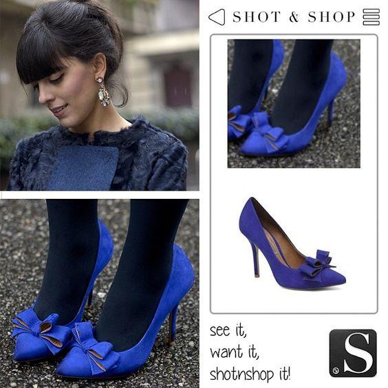 Bow stilettos, inspired by this look from Laura Comolli #LauraComolli #stilettos #ShotnShop #fashion #app