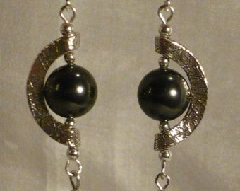 Exotic Sterling Silver Half Circle Earrings with Swarovski Black Pearls - Free Shipping