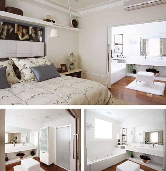 Suite com closet e banheiro integrados  Quarto  Pinterest  Portal, Quartos -> Closet Com Banheiro Integrado Pequeno