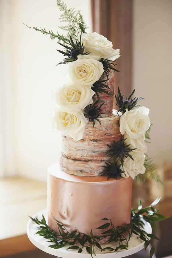 Semi-naked rose gold cake (£350), Rosewood Cakes. Glassware, The Green Cockatoo