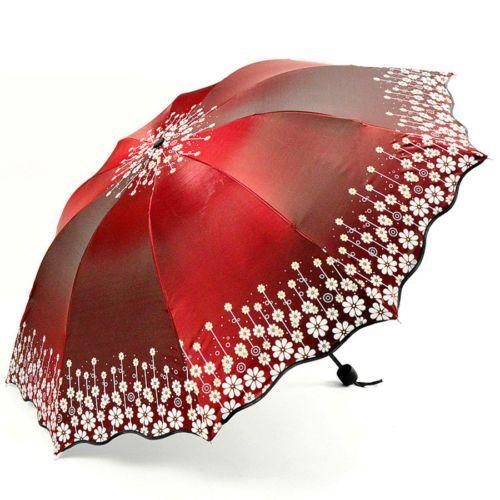 Women Folding Travel Sun Umbrella Parasol Summer UV Protection Fashion Umbrella