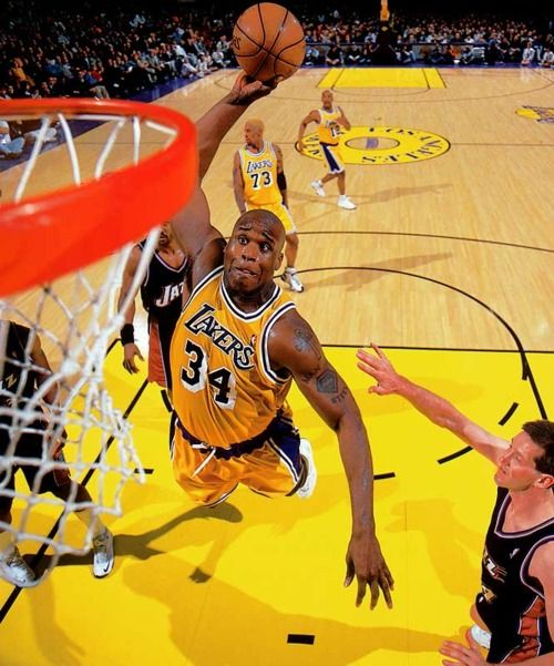 Image result for shaq lakers dunk