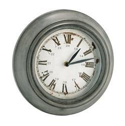 Wood& Glass Metro Round Clock Grey