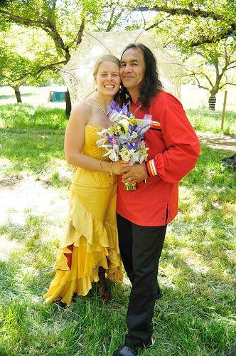 Yellow wedding dress at Emily & Mark's homemade Goat Farm, Native American, Albanian Orthodox, Love Fest