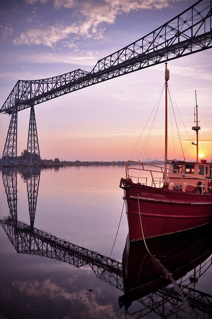 Transporter Bridge, Teesside - it's been a symbol of Teeside since it opened in 1911.. that's over 100 years ago. It's fully operational and provides a quarterly hour service between Port Clarence and Stockton. It's recently been repainted blue.. but the pnd's dropped a lot of it over the floor...