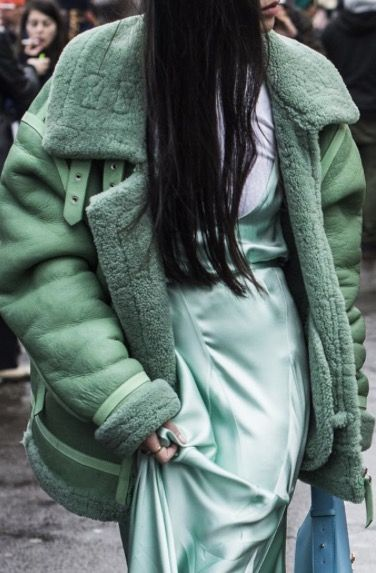 Textural shades of mint green - shearling & silk slip dress: