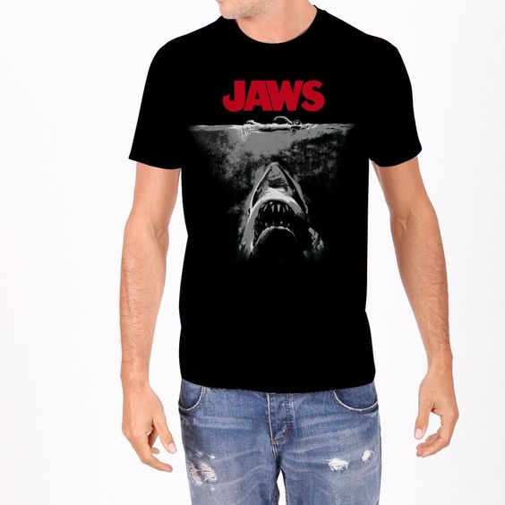 Black and White JAWS Men's Poster Tee