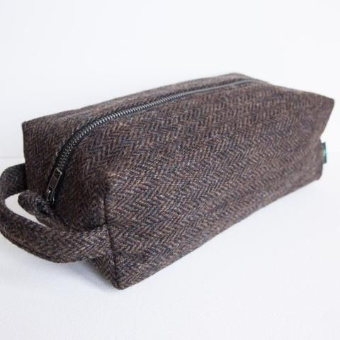 Harris Tweed Wash Bag - Brown & Black