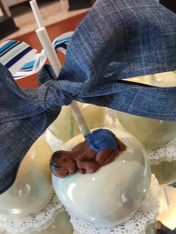 Sleeping Baby With Denim Diaper Candy Apples Candy