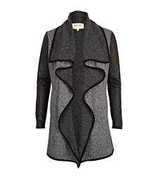 Grey neppy contrast sleeve waterfall jacket $90.00