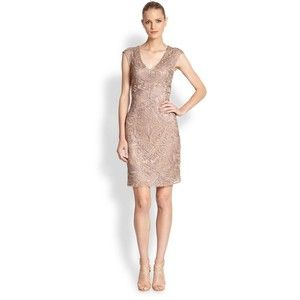 Sue Wong Embroidered V-Neck Cocktail Dress