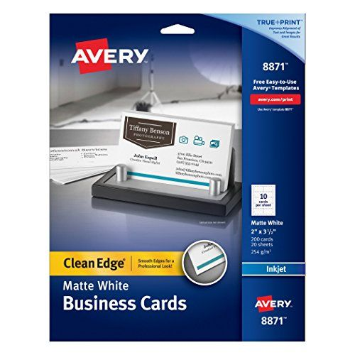 Avery Two Side Printable Clean Edge Business Cards For Inkjet Printers Matte White Pack Of 200 Avery Business Cards Printable Business Cards Avery Printable